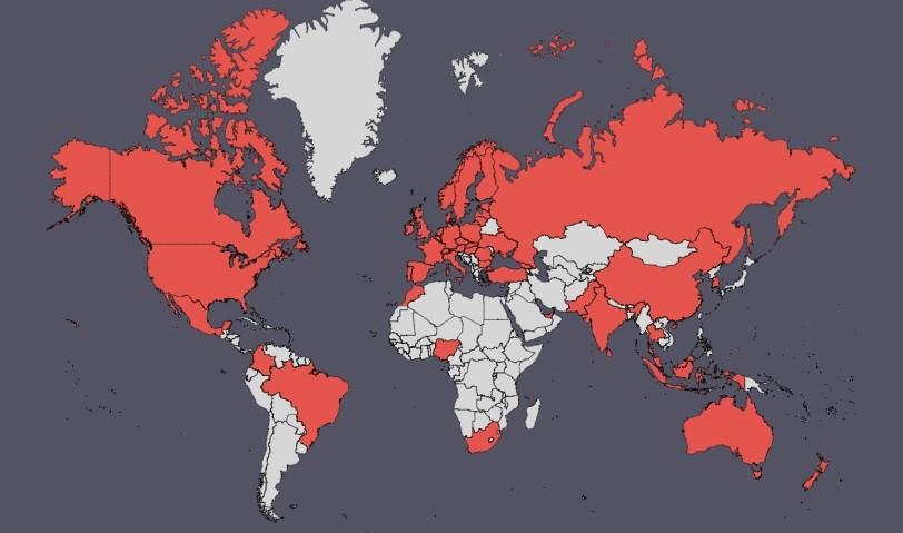 Státy, mezi kterými je možné převádět peníze pomocí Wise