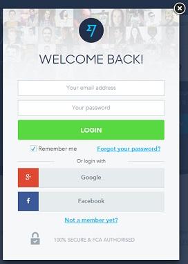 Přihlašovací a registrační stránka s možností přihlásit se pomocí Facebook a Google účtů